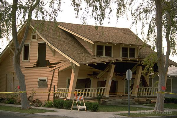 This raised foundation house slid off its foundation during the Northridge earthquake. Photo credit: FEMA