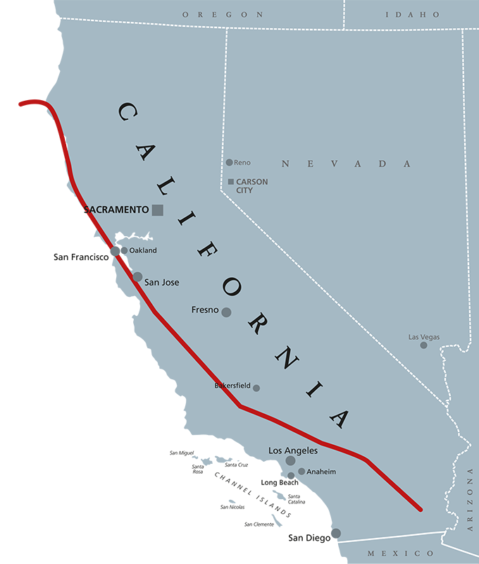 2020 San Andreas Fault Line Map Where Is The San Andreas Fault Cea