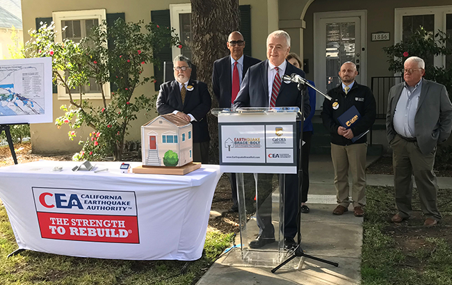 EBB: State officials participate in EBB's press conference, where they announce the launch of the 2020 registration period for seismic retrofit grants.