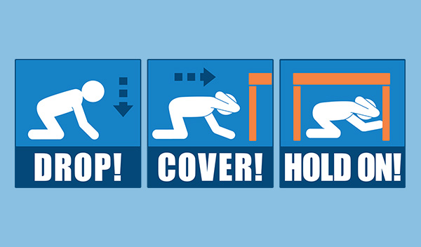 how to properly execute the drill properly, following the three key steps during an earthquake: Drop, Cover, and Hold On.