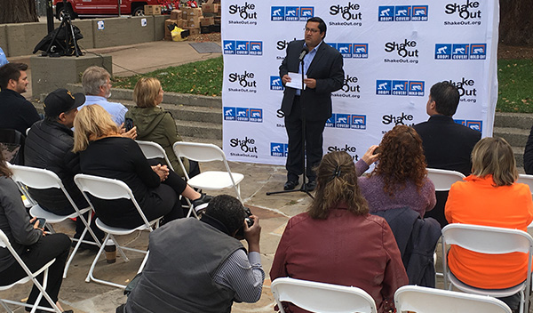 Jesse Arreguin, Berkeley Mayor speaking during ShakeOut press conference in Berkeley on Oct 18.
