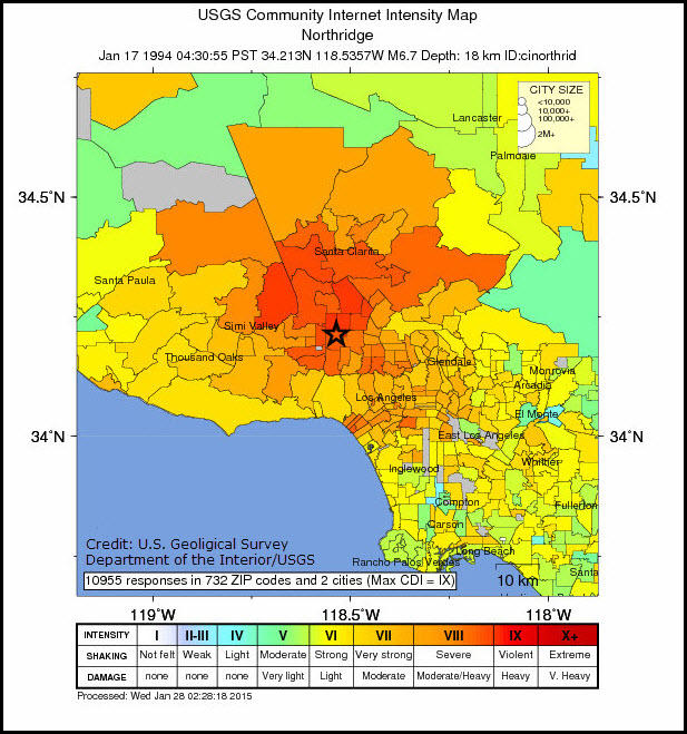 Northridge Shakemap
