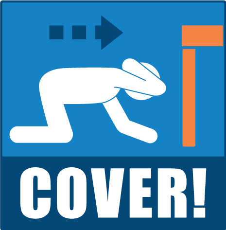 Cover DROP in an Earthquake: With one arm and hand, cover your head and neck. If there is a nearby desk or table, crawl under it for shelter. If there's no shelter, crawl next to an interior wall away from windows.